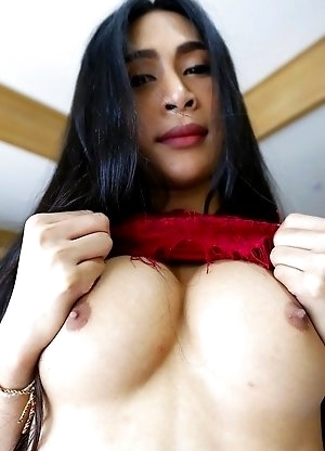 25yo busty Thai ladyboy Pang strips and sucks white cock and gets a facial