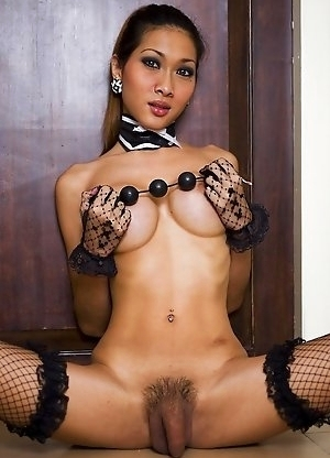 Giant anal beads stretch petite Yoyo Ladyboy asshole