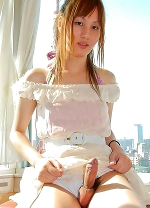 Mai is a sexy slim newhalf with a great look. She loves the feeling of the nylon stockings against her legs and the feeling of her hard cock popping o