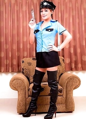 Ladyboy Police woman Jen in thigh high black boots