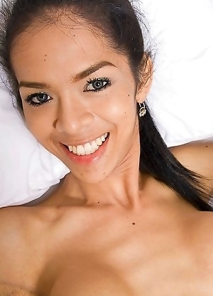 Skinny Ladyboy Mika celebrates new tits by stroking for you
