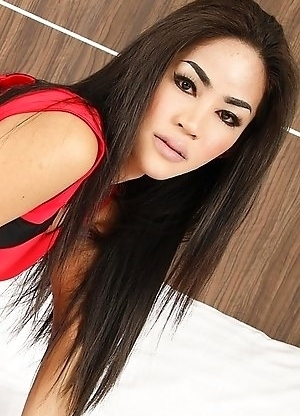 Superstar Bangkok ladyboy Candy is here to dazzle as she slowly strips to reveal her big tits and a hard cock.
