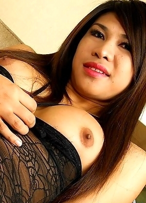 Saucy TS Ploy short in statue with big tits, a lovely cock and an ass you just want to grab hold off to stick it in. This time she is solo to play wit