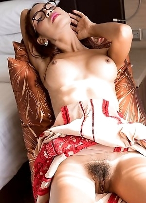 Yumi is very horny, pulling up her dress and spreading her pussy lips. Lots of juicy close ups as Yumi finger fucks her well-trained sex hole.