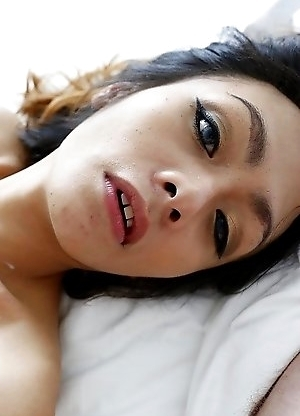 26yo Thai ladyboy Teena gets cum on her big tits after sucking and fucking white cock