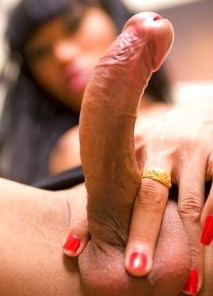 Deep dildo penetration makes Ladyboy Pond hung and horny