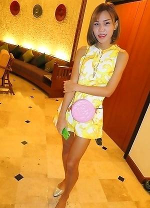 Ladyboy Noey - Cartoon Skirt & No Panties Creampie