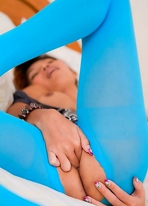 Ripped pantyhose allow for easy access to post-op Tops Asian pussy
