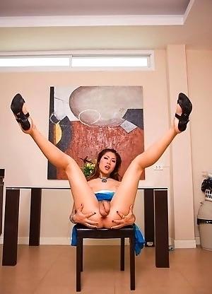 Upskirt from Sakura shows hanging Ladyboy balls and puckered anus