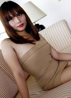 23yo busty Thai newhalf Ayumi sucks a big white cock after stripping