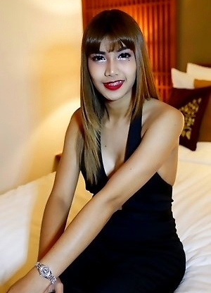 26yo busty Thai ladyboy May with small dick blows big white tourists cock