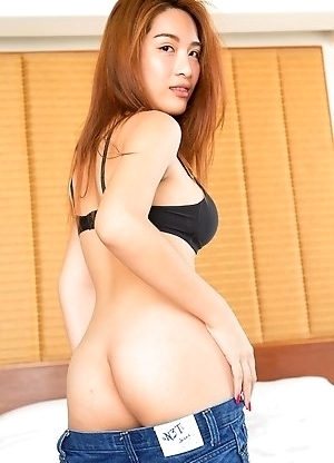 Ladyboy Tyra booty short and brabareback