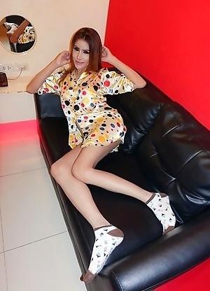 Ladyboy Angie - Polka Dot Pajama Top Creampie