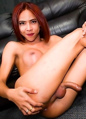 Yoghurt is a horny Bangkok tgirl with a sexy body, big breasts, a great ass and a sexy uncut cock!