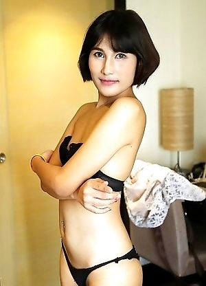 19yo shy Thai ladyboy Mali strips to tease white tourists cock
