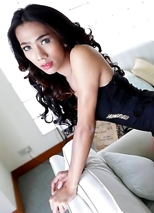 Slender sexy Thai Ladyboy Cheez enjoys ass packing from white tourist