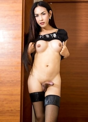 Ladyboy Nita in black stockings