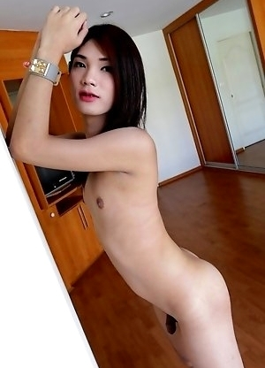 20yo Thai ladyboy Spor gets naked and gets her tight ass fucked by white cock