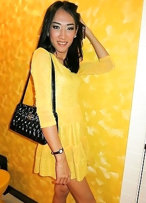 Tgirl Om Yellow Dress Top Bareback
