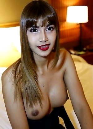 26yo busty Thai newhalf May strips and jerks off her own cock